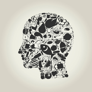Head of the person made of food. A vector illustrationのイラスト素材 [FYI03085829]