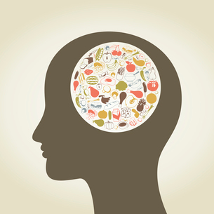 Head of the person made of food. A vector illustrationのイラスト素材 [FYI03085832]