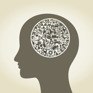 Head made of the industry. A vector illustrationのイラスト素材 [FYI03085842]