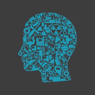 Head made of the industry. A vector illustrationのイラスト素材 [FYI03085847]