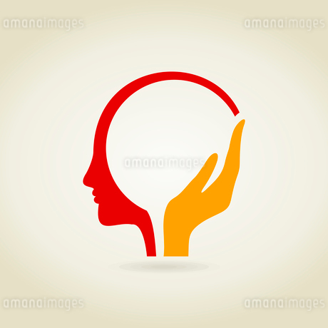 Hand in a head. A vector illustrationのイラスト素材 [FYI03085856]