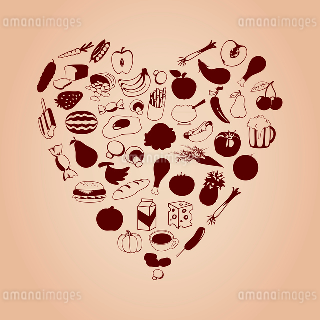 Heart from meal. Set of meal in the form of heart. A vector illustrationのイラスト素材 [FYI03085883]