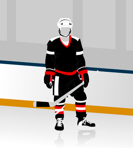 hockey player. The hockey form on a skating rink. A vector illustrationのイラスト素材 [FYI03085921]