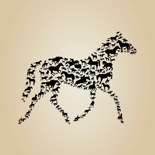 Horse made of horses. A vector illustrationのイラスト素材 [FYI03085938]