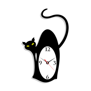 Hours in the form of a cat. A vector illustrationのイラスト素材 [FYI03085944]