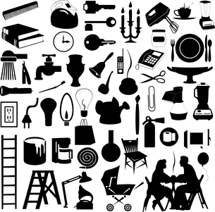 House subjects. Set of silhouettes of house subjects. A vector illustrationのイラスト素材 [FYI03085981]