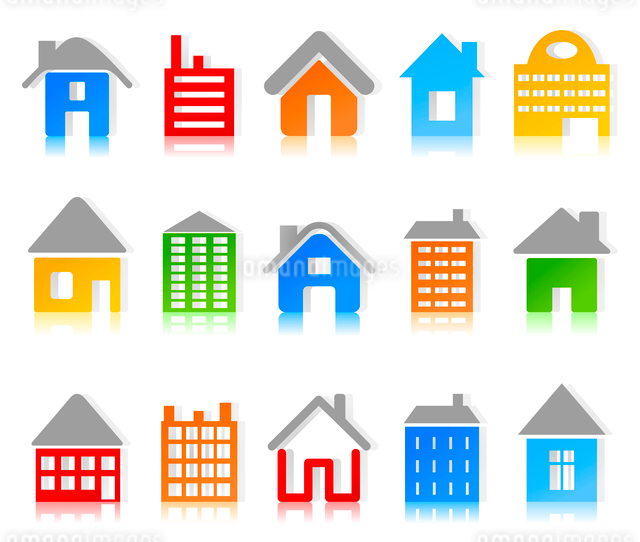 House3. Set of icons of houses. A vector illustrationのイラスト素材 [FYI03085988]