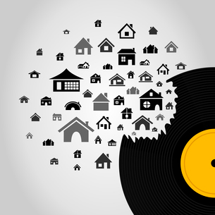 Houses take off from Vinyl. A vector illustrationのイラスト素材 [FYI03085989]