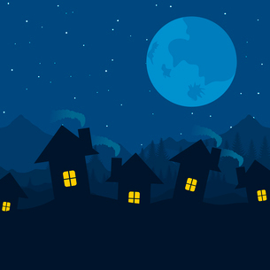 House5. Village at night against the star sky. A vector illustrationのイラスト素材 [FYI03085991]