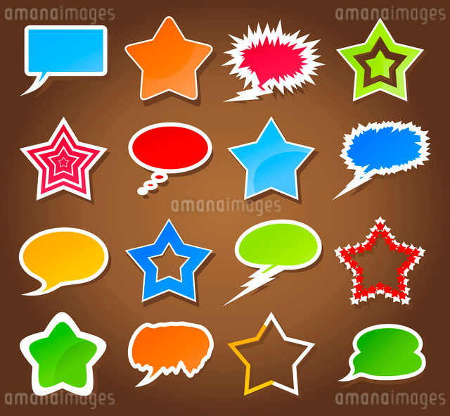 Icon a star3. Set of icons of stars and clouds. A vector illustrationのイラスト素材 [FYI03086018]