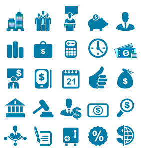 Set of icons on a theme business. A vector illustrationのイラスト素材 [FYI03086019]