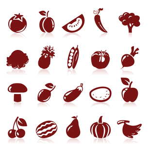 Set of icons on a theme fruit. A vector illustrationのイラスト素材 [FYI03086036]