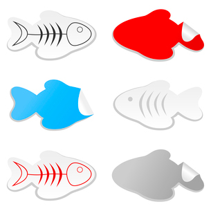 Icon of fish. Collection of icons on a theme of fish. A vector illustrationのイラスト素材 [FYI03086040]