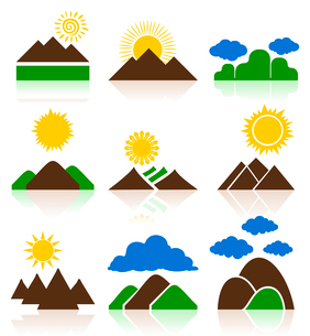 Icon of mountains. Set of icons of mountains and landscapes. A vector illustrationのイラスト素材 [FYI03086044]