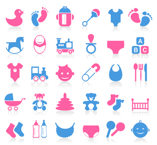 Set of icons on a theme baby. A vector illustrationのイラスト素材 [FYI03086063]