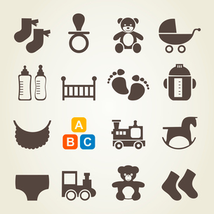 Set of icons on a theme baby. A vector illustrationのイラスト素材 [FYI03086070]