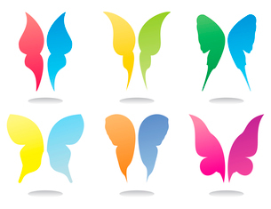 Icons of butterflies. Icons of wings of butterflies of beautiful colours. A vector illustrationのイラスト素材 [FYI03086071]