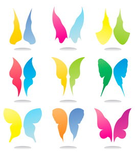 Icons of butterflies2. Icons of wings of butterflies of beautiful colours. A vector illustrationのイラスト素材 [FYI03086073]