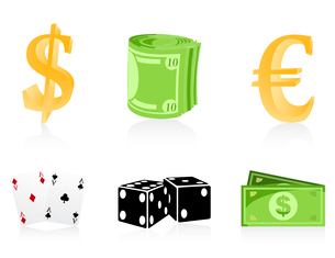 Icons of money. Icons of money and playing cards and cubes. A vector illustrationのイラスト素材 [FYI03086080]