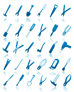 Icons of tools. The collection of icons of tools. A vector illustrationのイラスト素材 [FYI03086096]
