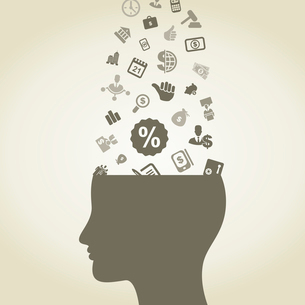 Business subjects in a head. A vector illustrationのイラスト素材 [FYI03086099]