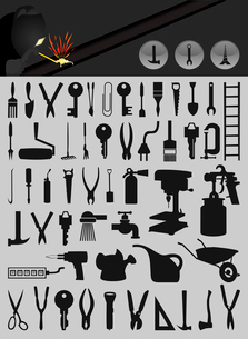Icons of tools2. Set of icons on a theme tools. A vector illustrationのイラスト素材 [FYI03086100]