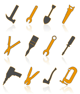 Icons of tools4. The collection of icons of tools. A vector illustrationのイラスト素材 [FYI03086105]