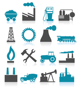 Industrial icons5. Set of icons on a theme the industry. A vector illustrationのイラスト素材 [FYI03086117]
