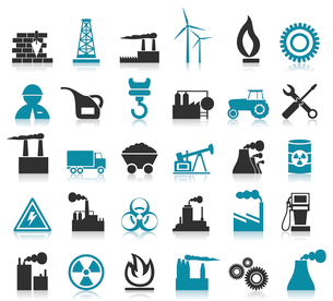 Set of icons on a theme the industry. A vector illustrationのイラスト素材 [FYI03086121]
