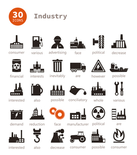 Set of icons on a theme the industry. A vector illustrationのイラスト素材 [FYI03086123]