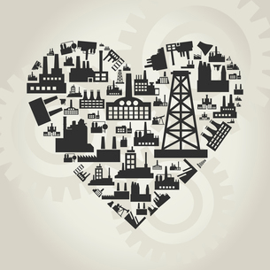 Heart made of factories. A vector illustrationのイラスト素材 [FYI03086127]