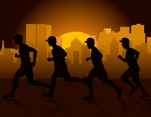 Jog on a city. Jog on a city early in the morning. A vector illustrationのイラスト素材 [FYI03086140]