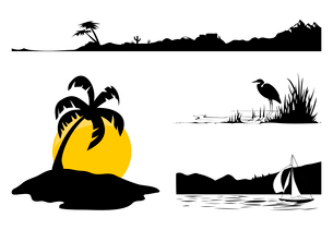 Landscape2. Landscapes and trees of black colour. A vector illustrationのイラスト素材 [FYI03086153]