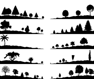Landscape. Landscapes and trees of black colour. A vector illustrationのイラスト素材 [FYI03086154]