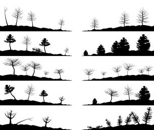 Landscape4. Set of landscapes of woods. A vector illustrationのイラスト素材 [FYI03086157]