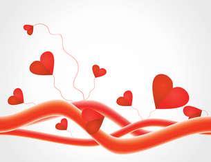 Love background. Background with red lines and hearts. A vector illustrationのイラスト素材 [FYI03086238]
