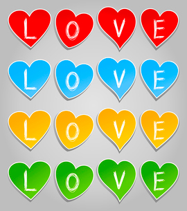 Love2. Inscription love on hearts of different colours. A vector illustrationのイラスト素材 [FYI03086290]