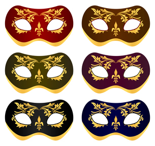 Mask5. Set beautiful masks for a carnival. A vector illustrationのイラスト素材 [FYI03086308]