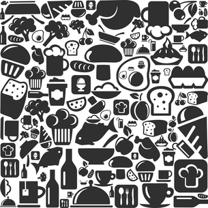 Background on a theme a foodstuff. A vector illustrationのイラスト素材 [FYI03086312]