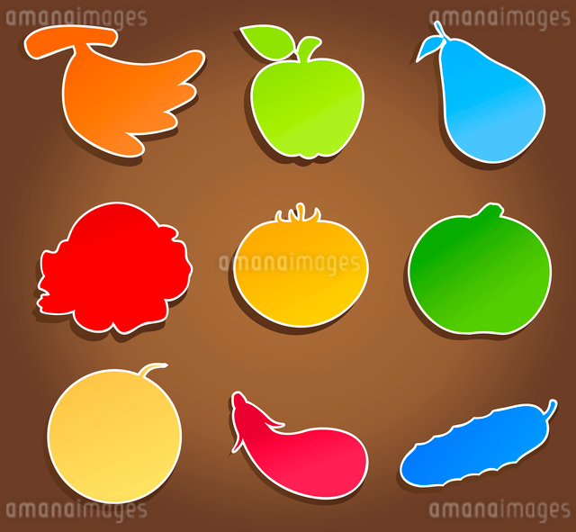 Meal icons4. Icons of vegetables and fruit on a brown background. A vector illustrationのイラスト素材 [FYI03086317]