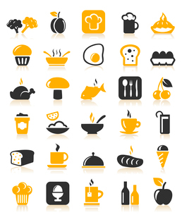 Set of icons on a theme food. A vector illustrationのイラスト素材 [FYI03086320]