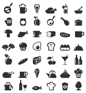 Set of icons on a theme food. A vector illustrationのイラスト素材 [FYI03086321]