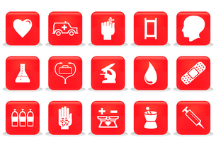 Medical icons. Set of buttons on a medical theme. A vector illustrationのイラスト素材 [FYI03086341]
