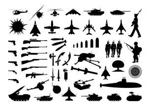 Military collection. Silhouettes of the various weapon and engineering. A vector illustrationのイラスト素材 [FYI03086367]