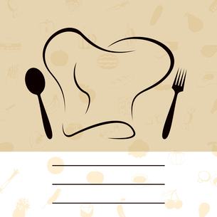 Menu of the cook. Cap of the cook with a plug and a spoon. A vector illustrationのイラスト素材 [FYI03086371]