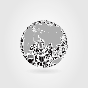 Planet made of musical instruments. A vector illustrationのイラスト素材 [FYI03086383]