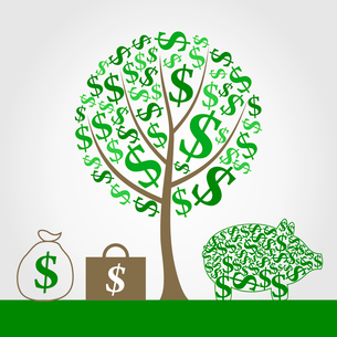 Monetary tree. Monetary tree and portfolio of money. A vector illustrationのイラスト素材 [FYI03086384]