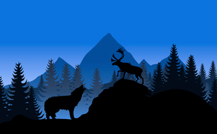 Mountain landscape. Mountain landscape with a wolf and a deer. A vector illustrationのイラスト素材 [FYI03086393]