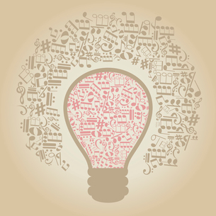 Bulb made of musical notes. A vector illustrationのイラスト素材 [FYI03086397]