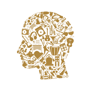 Head made of musical instruments. A vector illustrationのイラスト素材 [FYI03086439]